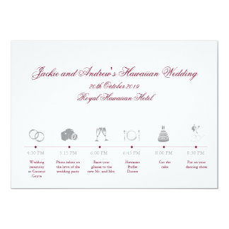 Hochzeits-Empfangs-RouteTimeline 12,7 X 17,8 Cm Einladungskarte