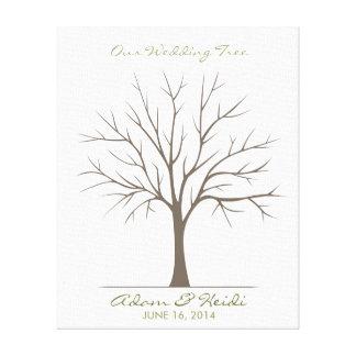 Hochzeits-Fingerabdruck-Baum - Klassiker Gespannte Galerie Drucke
