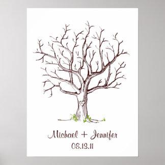 Hochzeits-Fingerabdruck-Baum-Plakat (Brown) Poster
