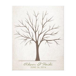 Hochzeits-Fingerabdruck-Baum - rustikal Gespannte Galerie Drucke
