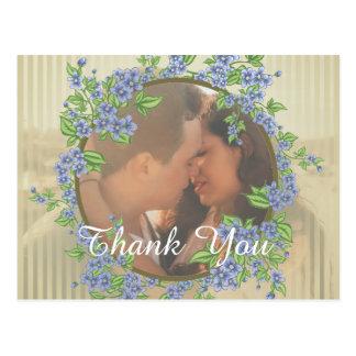 Hochzeits-Foto-Blumen-Rahmen danken Ihnen Postkarten