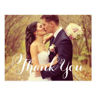 Hochzeits-Foto danken Ihnen   weißes elegantes Postkarte