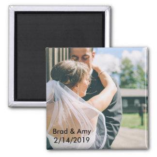 Hochzeits-Foto-Magnet Quadratischer Magnet