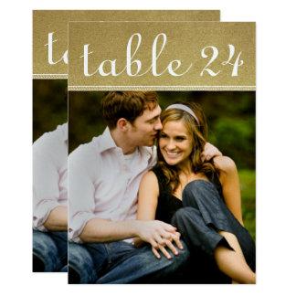 Hochzeits-Foto-Tischnummer kardiert | Goldschimmer Karte