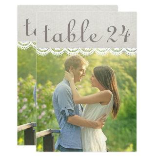 Hochzeits-Foto-Tischnummer kardiert | Leinen und 12,7 X 17,8 Cm Einladungskarte