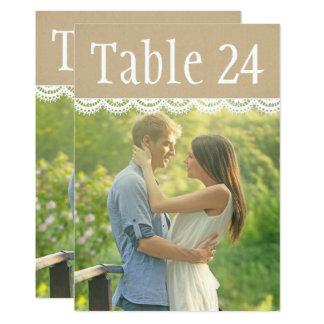 Hochzeits-Foto-Tischnummer kardiert | Spitze und Karte