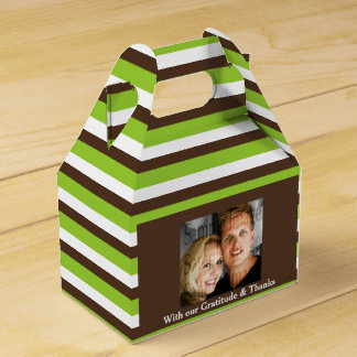 Hochzeits-Fotostreifen Browns grüne Geschenkschachteln
