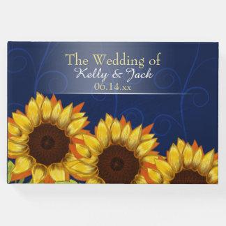 Hochzeits-Gastbuch der Sonnenblume blaues Gästebuch