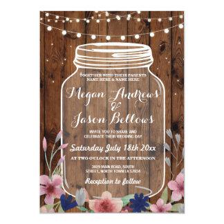 Hochzeits-Glas-hölzerne rustikale Karte