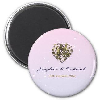 Hochzeits-Herz Runder Magnet 5,7 Cm