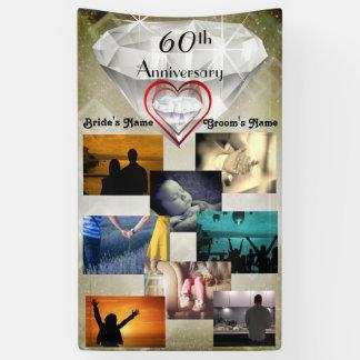 Hochzeits-Jahrestag des Foto-Collagen-Diamant-60. Banner