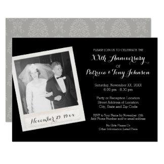 Hochzeits-Jahrestag mit Vintagem Foto-Rahmen 12,7 X 17,8 Cm Einladungskarte