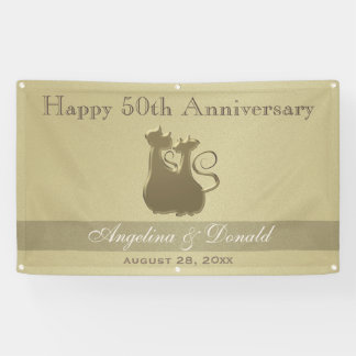 Hochzeits-Jahrestags-goldene Glamour-Katzen-Paare Banner