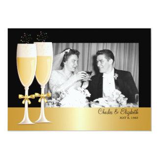 Hochzeits-Jahrestags-Party des FunkelnFoto-50. 12,7 X 17,8 Cm Einladungskarte