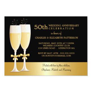 Hochzeits-Jahrestags-Party Funkelnschampagne 50. 12,7 X 17,8 Cm Einladungskarte