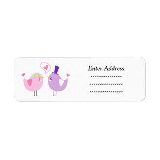 Hochzeits-Liebevogel-Adressenaufkleber