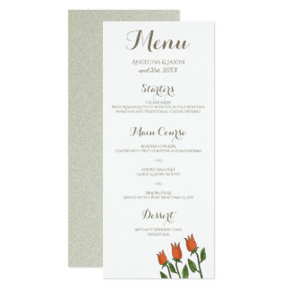 Hochzeits-Menü-BlumenAquarell-Frühlings-weißes Karte