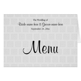 Hochzeits-Menü-Entwurf im blassen Grau mit Karte