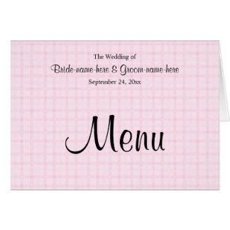 Hochzeits-Menü in blassem - rosa Karo und Karte