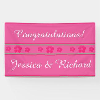 Hochzeits-oder Verlobungs-Party-Fahnen-helles Rosa Banner