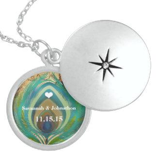 Hochzeits-Pfau-Feder-Jahrestags-Halskette Medaillon