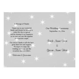 Hochzeits-Programm, blasses Grau mit weißen Flyer