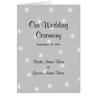 Hochzeits-Programm, blasses Grau mit weißen Karte