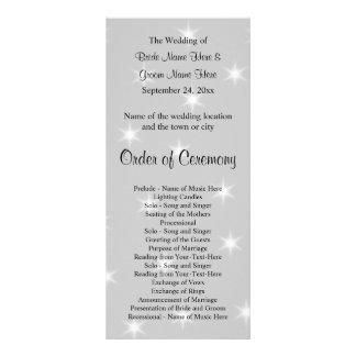 Hochzeits-Programm, blasses Grau mit weißen Werbekarte
