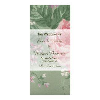Hochzeits-Programm für grüne und rosa Werbekarte