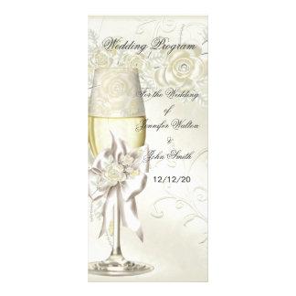 Hochzeits-Programm-Goldcreme-Perlen-BlumenRosen Bedruckte Werbekarte