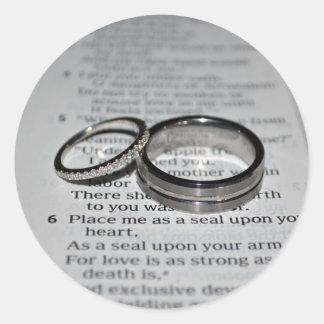 Hochzeits-Ring-Umschlag Aufkleber-Aufkleber Runder Aufkleber