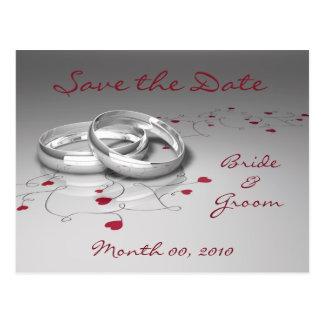 Hochzeits-Ringe und Herz-Save the Date Postkarten