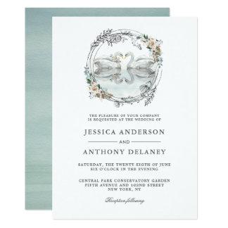 Hochzeits-Schwan-elegante Aquarell-Einladung Einladung