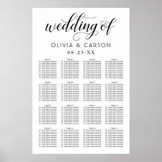 Hochzeits-Sitzplatz-Diagramm-Plakat | Schwarzweiss Poster