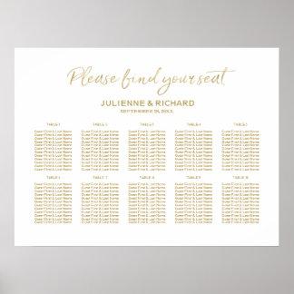 Hochzeits-Sitzplatz-Plan-stilvolles goldenes mit Poster