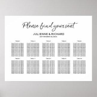 Hochzeits-Sitzplatz-Plan-stilvolles mit Buchstaben Poster