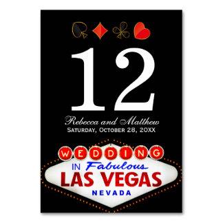 Hochzeits-Tischnummer in fabelhaftem Las Vegas