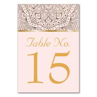 Hochzeits-Tischnummern  Boho Blumenmandala-Gold Karte