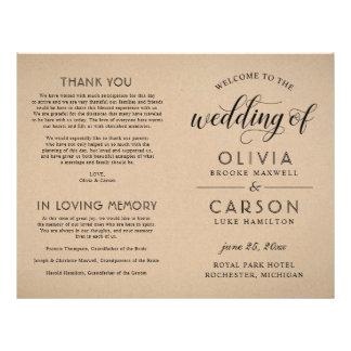 Hochzeits-Zeremonie-Programm | rustikales Flyer
