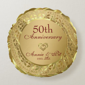 Hochzeitstag des Funkelngold50. Rundes Kissen