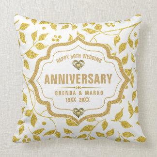 Hochzeitstag des Goldblatt-Muster-50. Kissen