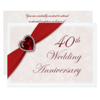 Hochzeitstag-Einladung des Damast-40. 11,4 X 15,9 Cm Einladungskarte