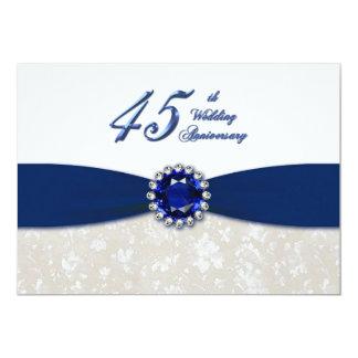 Hochzeitstag-Einladung des Damast-45. 12,7 X 17,8 Cm Einladungskarte