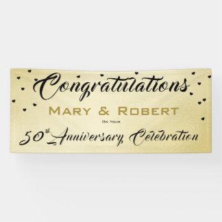 Hochzeitstag-Fahne des Confetti-Gold-50th Banner