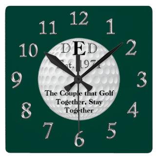 Hochzeitstag-Golf-Uhr mit IHREM TEXT Wanduhren