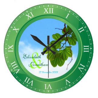 Hochzeitstag-Smaragdgrün-römische Ziffern Uhr