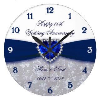 Hochzeitstag-Uhr des Damast-45. Große Wanduhr