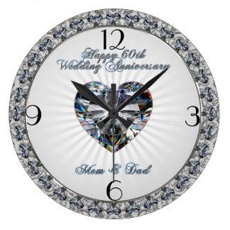 Hochzeitstag-Uhr des Diamant-Herz-60. Große Wanduhr
