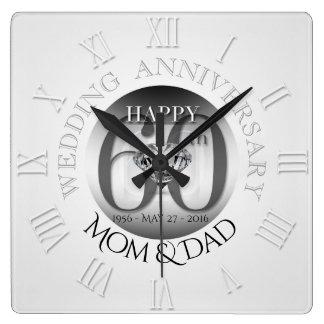 Hochzeitstag-Uhr römisches N des Diamant-60. Wanduhr