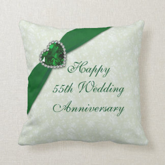 Hochzeitstag-Wurfs-Kissen des Damast-55. Kissen